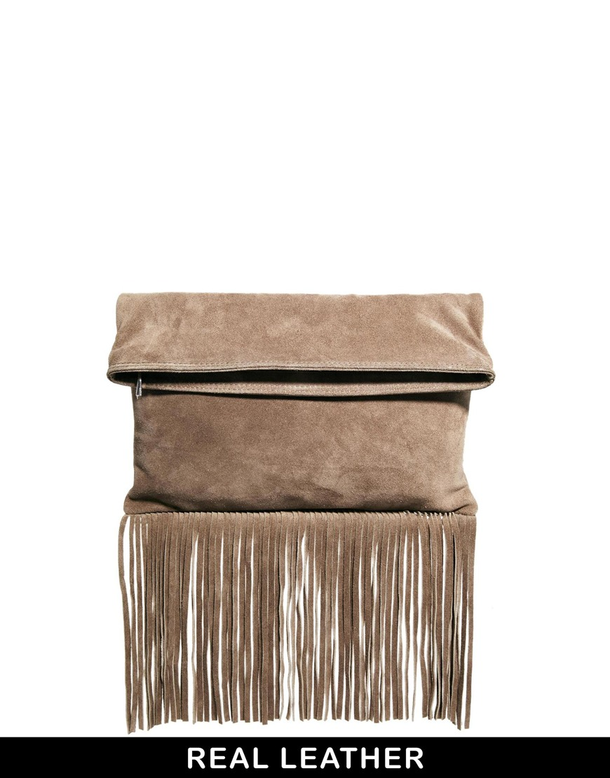 ASOS Suede Foldover Fringe Clutch Bag at asos.com