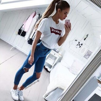 shirt levi's t-shirt white shirt ripped jeans style