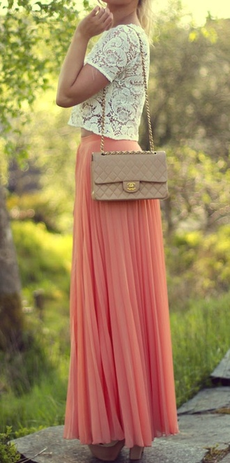 shirt clothes lace maxi skirt skirt dress top lace top crop crop tops white white top pink pink skirt naxi lace shirt maxi dress maxi blouse