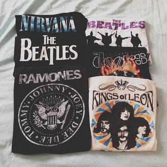 shirt ramones the beatles nirvana t-shirt band t-shirt sweater kings of leon the doors