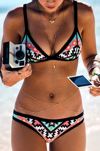 swimwear bikini print geometric girly women clothes summer top fashion style boho bohemian bandeau black floral hipster trendy bikini top bikini bottoms black bikini beach dope swimwear summer outfits summer shorts sunglasses colorful