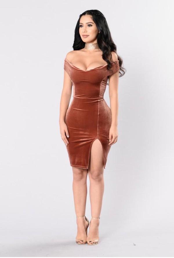 Dress Velvet Orange Velvet Dress Orange Dress Nude