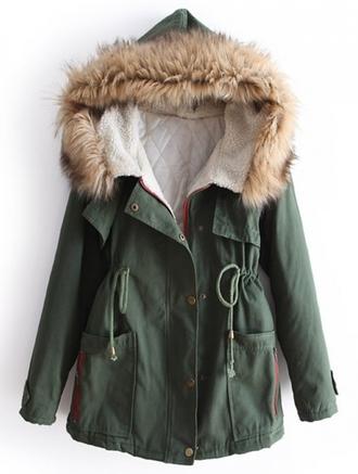 jacket parka army green army green jacket hoodie khaki green parka fur fur coat hooded parka