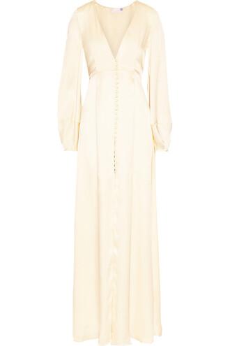 gown silk satin cream dress