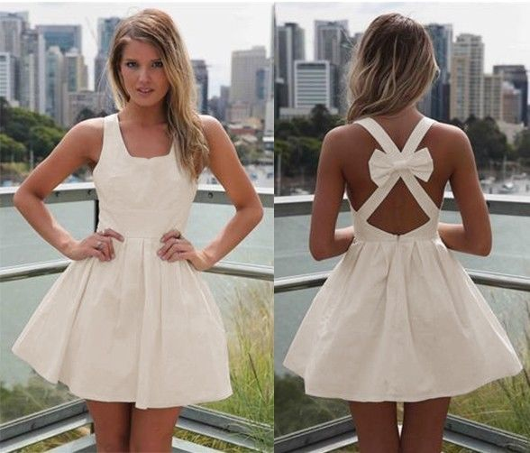 Sexy Ivory Vintage Back Bow Cut Out Mini Dress Sleeveless Zip Back Closure | eBay
