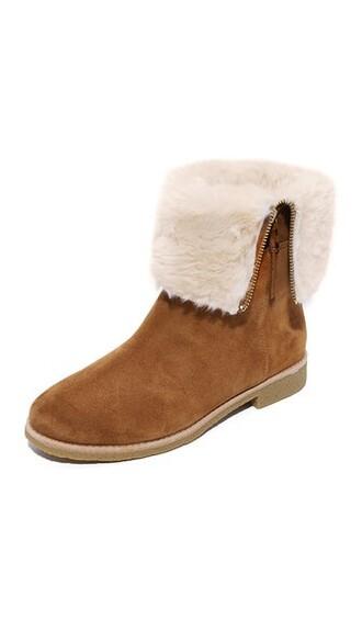 fur faux fur booties shoes