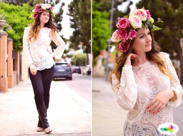 blouse vintage lace lace blouse white boho boho bohemian