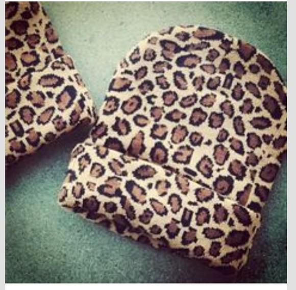 hood leopard print beanie