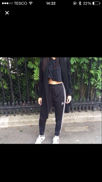 pants adidas black sweatpants white
