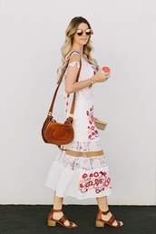 a little dash of darling,blogger,white dress,floral dress,lace dress,white lace dress,brown bag,shoulder bag,wedges,brown shoes,summer,pink sunglasses,le fashion image,sunglasses,dress,maxi dress,mesh dress,summer dress