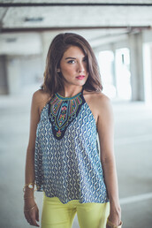 top,ornate\,ornate,entourage,tank top,halter neck,halter top,summers,tyle,summer 2015,boutique,neon,bright,bold,navy,yellow,pink,embroidered