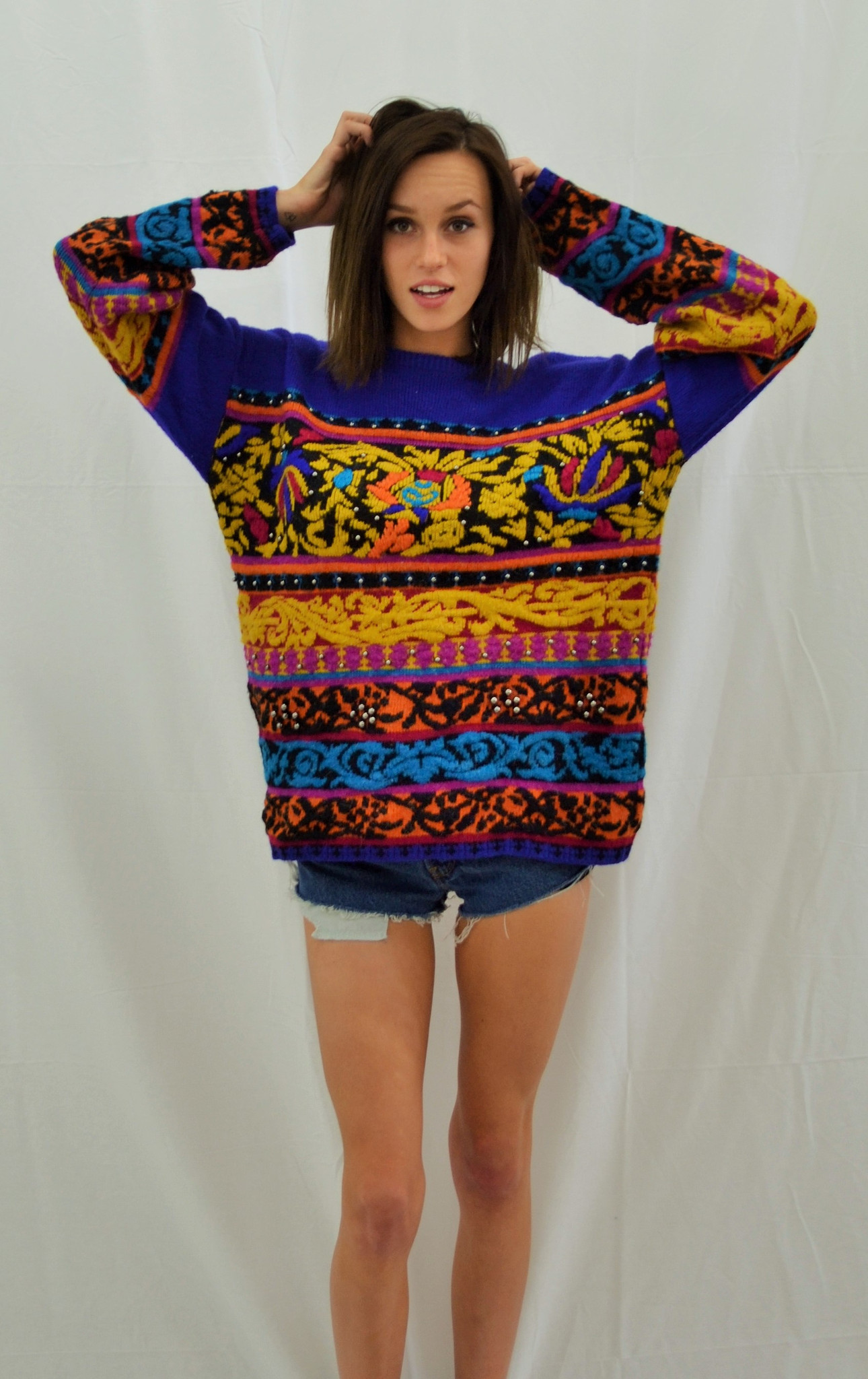 Vintage 80 S Sweater Purple With Patterns And Beads Lost