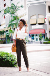 pinksole,blogger,jewels,belt,top,blouse,pants,shoes,bag,orange bag,white shirt,fall outfits,pumps