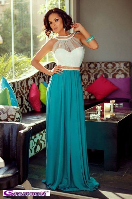 Halter Neck Tulle White Bodice And Turquoise Cocktail Dress |
