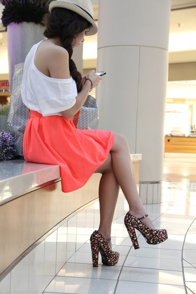 Ed'a skirt, forever 21 top, forever 21 shoes, mimi boutique bag, agaci fedora