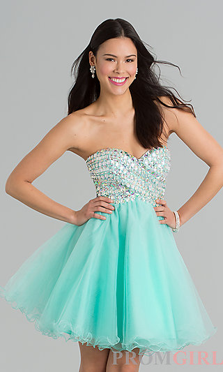 Short Beaded Strapless Prom Dress, Short Beaded Dresses- PromGirl
