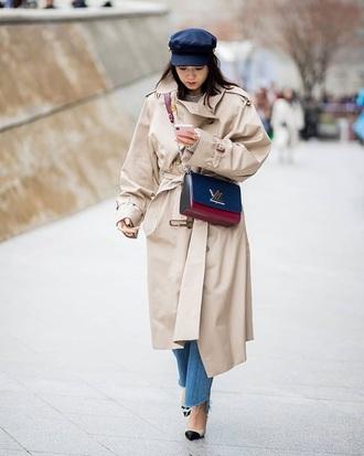 coat oversized coat oversized bag hat fisherman cap pumps trench coat louis vuitton
