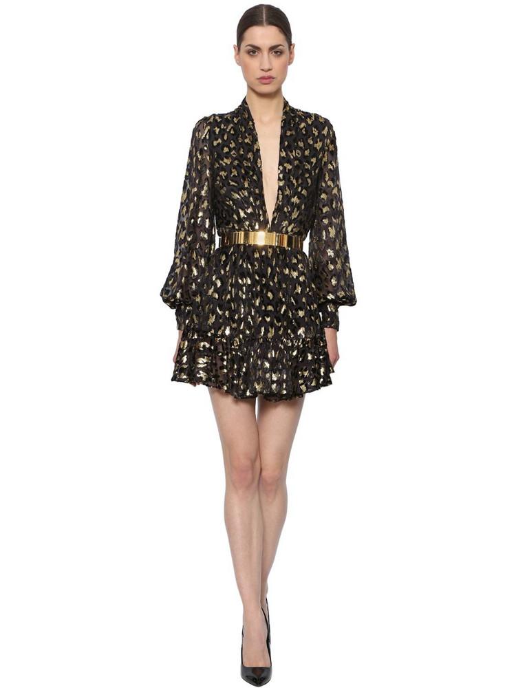 AZZARO Leopard Sheer Chiffon Fil Coupé Dress in black / gold