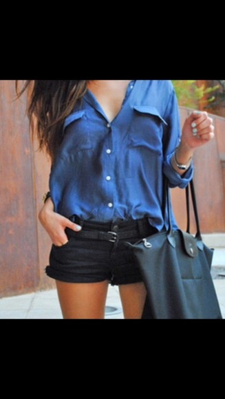 button up blouse blouse blue shirt cute girly hipster