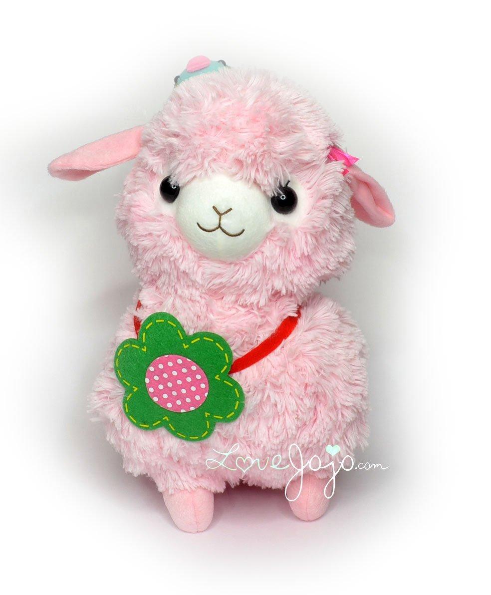 Amuse Arpakasso Alpaca Llama Plush Large Pink With Blue Chick On