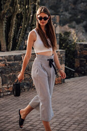 top,crop tops,pants,baf,bag,black bag,sunglasses,shoes,mules,slide shoes