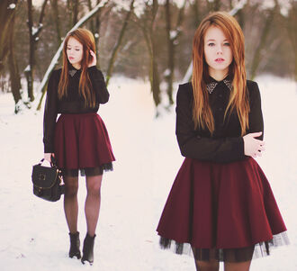 skirt tulle skirt burgundy black mini european style elegant street yeahbunny sex and the city chik rock blogger style winter outfits