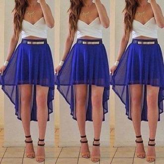 skirt high low skirt royal blue gold belt flowy