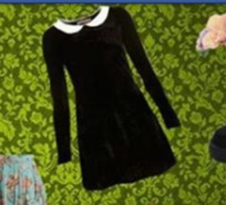 dress black dress black cute dress lolita lolita dress black and white dress black and white long sleeves long sleeve dress collared dress collar