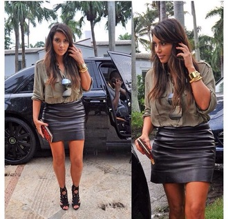 shirt kim kardashian classy cool style celebrity style black leather skirt military style celebrity high waisted skirt mini skirt