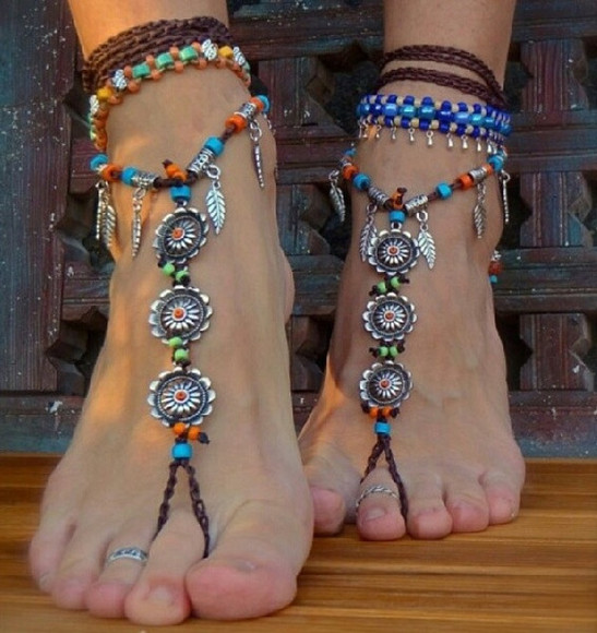 shoes fashion toast barefoot sandals boho blue jewels cute beach hippie