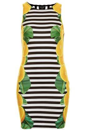 Lemon Stripe Bodycon Dress- Topshop