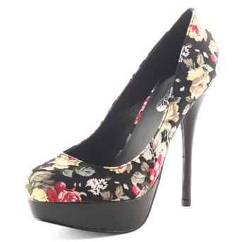Black floral court shoes