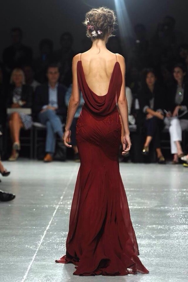 burgundy burgundy dress dress mermaid open back oxblood prom red dress runway