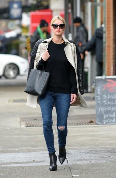 coat jeans boots shoes