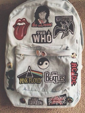 bag denim backpack patch patched bag purse band clothes grunge the beatles pink floyd the who acdc sex pistols backpack the rolling stones the doors led zeppelin sweet lovely cute style vintage bags and purses fashion inspo inspiration dr who supernatural merlin sherlock rock guns'n roses band logos blink 182 band merch yin yang denim rad hipster indie tumblr badge pins music white