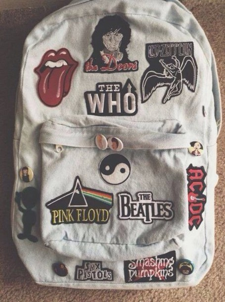 bag denim backpack patch patched bag purse band clothes purse grunge the beatles pink floyd the who acdc sex pistols backpack the rolling stones the doors led zeppelin bag ariana grande cool style fashion sweet lovely cute vintage bags and purses the rolling stones backpack fashion inspo inspiration dr who supernatural merlin sherlock rock guns'n roses the rolling stones band logos patch stickers denim blink 182 backpack band merch the beatles yin yang rad hipster indie tie-dye backpack with patches of bands band tumblr badge pins music white