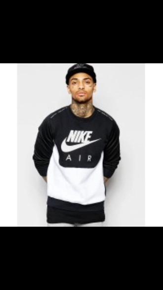 shirt nike black and white swearshirt black white crewneck
