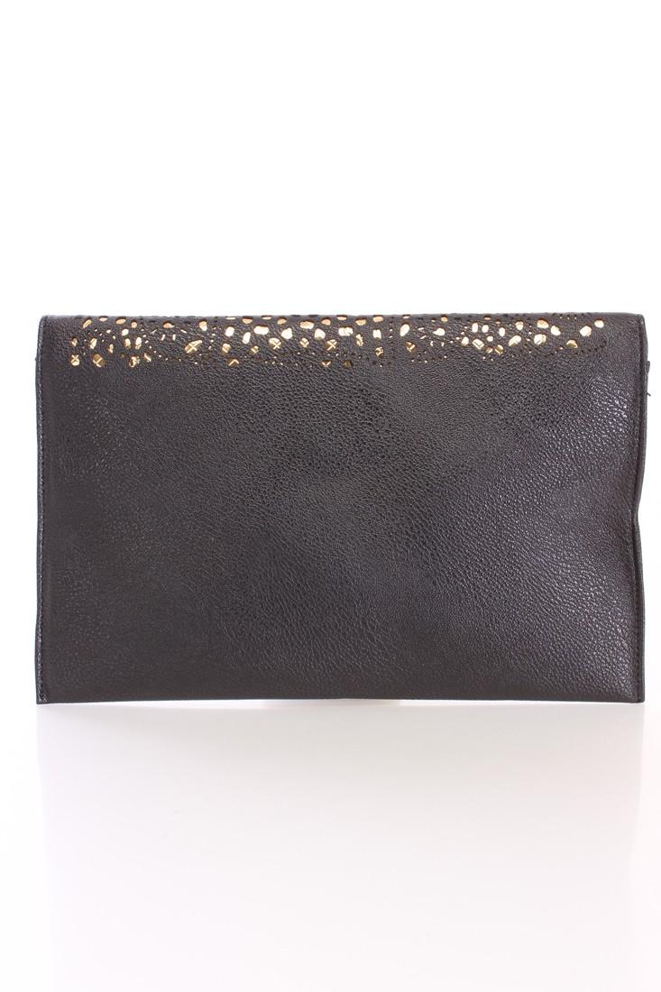 Black Metallic Cut Out Faux Leather Clutch Handbag