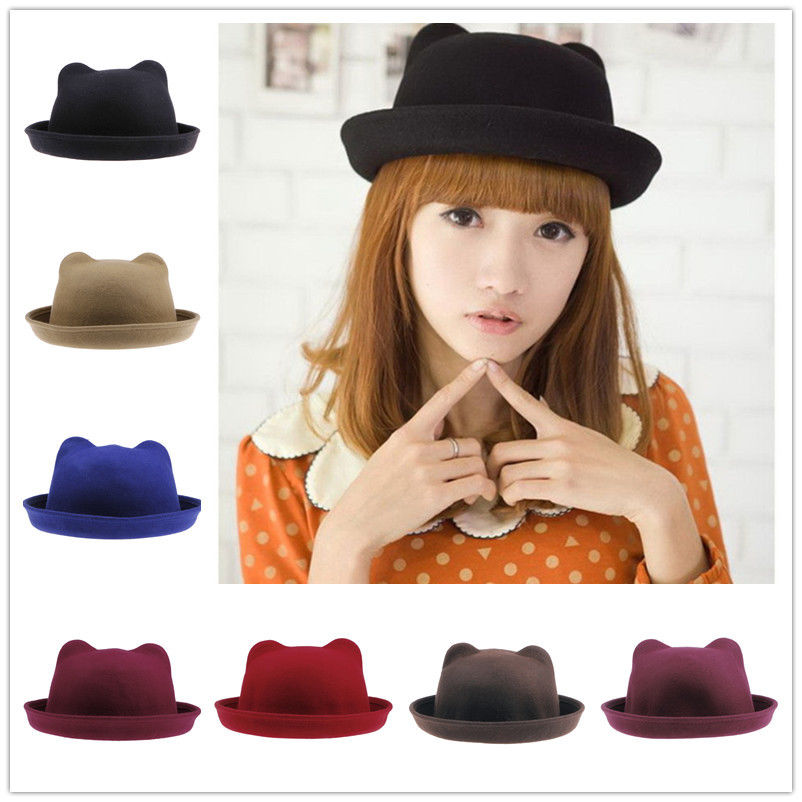 1pc Fashion Unisex Wool Parent-Child Women Bowler Fedora Hats Derby Cat Ear Cap