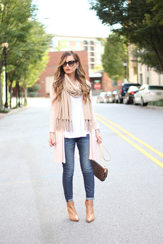 for all things lovely blogger cardigan scarf tank top jeans shoes bag jewels