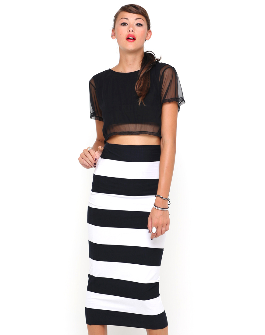Buy Motel Bobbie Bodycon Tube Skirt in Huge Stripe at Motel Rocks
