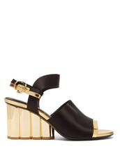 heel,sandals,gold,black,satin,shoes