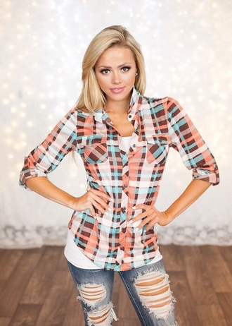 shirt plaid country orange blue white blouse