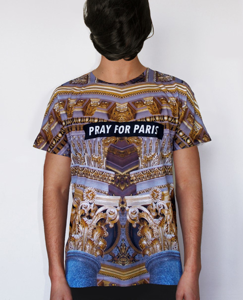 Pray for Paris golden pillars t-shirt (all over print) | Pray For Paris