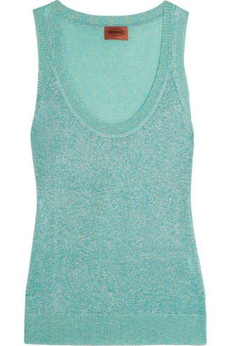 knit metallic crochet turquoise top