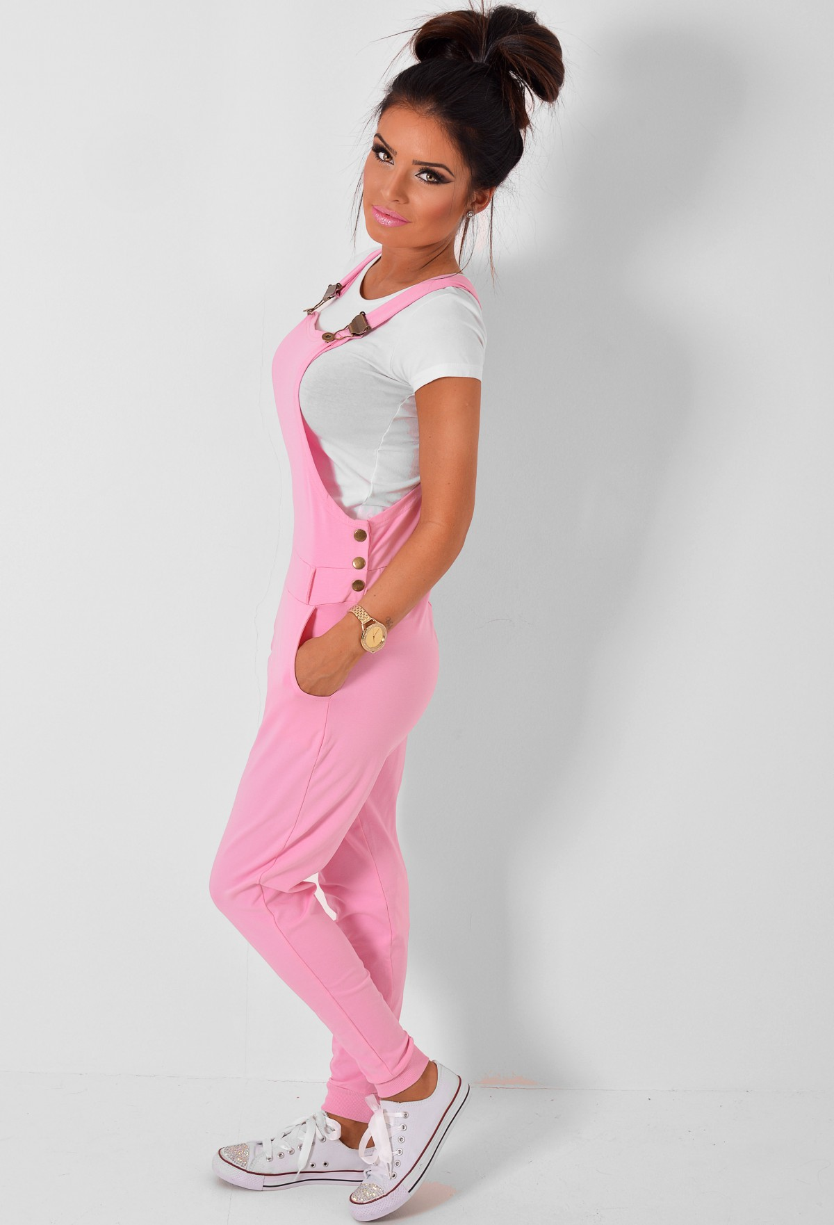 Lexia Pink Jersey Dungarees Pink Boutique