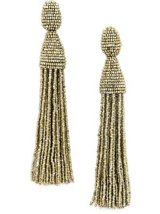 tassel beaded earrings metallic jewels