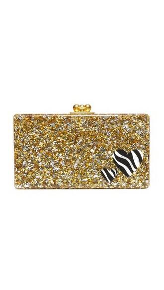 zebra clutch gold silver bag