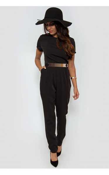 Gold Belted Jumpsuit In Black - from The Fashion Bible UK