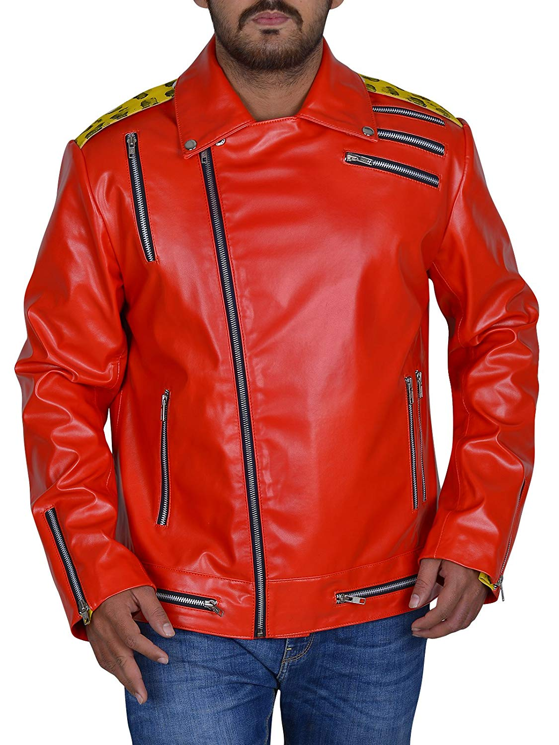 Men's Fashion Eric Arndt Soft Faux Leather Red and Yellow Biker Multi Zipper Jacket at Amazon Men's Clothing store: